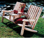 Cedar Log Garden Teaset Bench