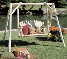 4' Northern White Cedar Log Swing and Frame