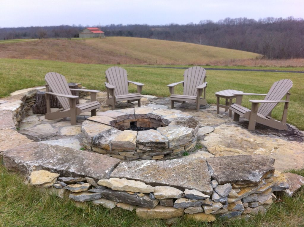 polywood adirondack chairs and firepit - Polywood Adirondack Chairs