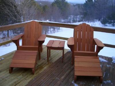 Big Red Adirondack Chairs and Classic Ottomans