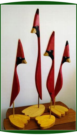 Handpainted Wooden Cardinal Bird