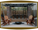 Katelyn Mahogany Adirondack chairs and firepit